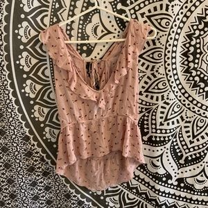 AMERICAN EAGLE Pink Flowery Blouse (with tube top)